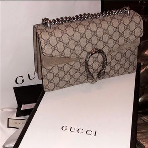 100% Authentic Small Gucci Dionysus in taupe.